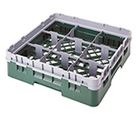 Cambro 9S318151 Camrack Glass Rack with Extender - 9-Compartments, Soft Gray