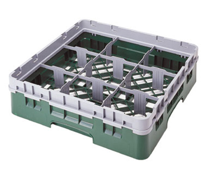 Cambro 9S638110 Camrack Glass Rack - (3)Extenders, 9-Compartments, Black