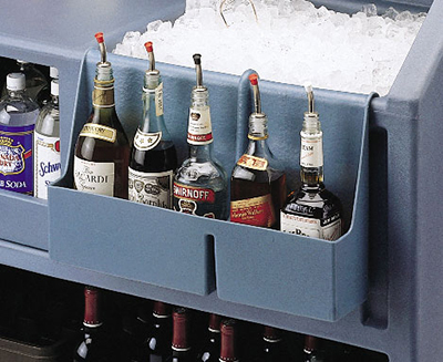 "Cambro BAR54SR191 Partitioned Speed Rail - 5-Bottle, 19-1/2x4-5/16x12-5/8"" Granite Gray"