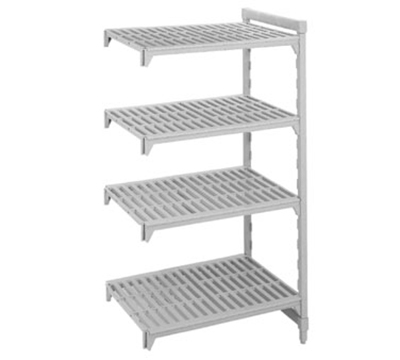"Cambro CSA48426480 Camshelving Add-On Unit - (4)Shelves, 18x42x64"" Speckled Gray"
