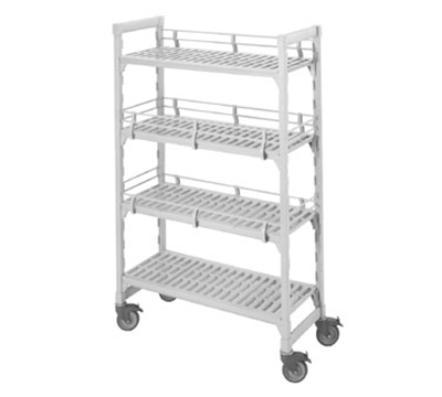 "Cambro CSFE18480 Camshelving® Fence System - Fits 18"" Post, Double Level End, Speckled Gray"