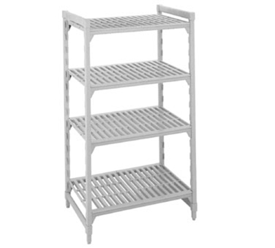 "Cambro CSU41546480 Camshelving Starter Unit - 21x54x64"" (4)Shelves, Speckled Gray"