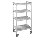 "Cambro CSUR41486480 Mobile Shelving Starter Unit - (4)Shelf, 21x48x67""  Speckled Gray"