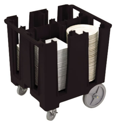 "Cambro DCS1125110 Versa Dish Caddy - 4 Column, 11-1/4"" Round/9-1/2"" Square, Black"
