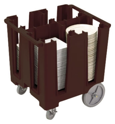 "Cambro DCS1125131 Versa Dish Caddy - 4 Column, 11-1/4"" Round/9-1/2"" Square, Dark Brown"