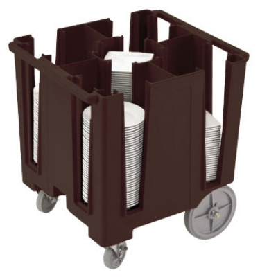 "Cambro DCS950131 Versa Dish Caddy - 5 Column, 9-1/2"" Round/8"" Square, Dark Brown"