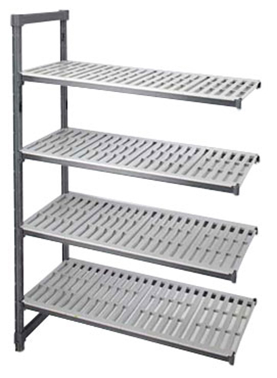 "Cambro EA214264 580 Camshelving Elements Add-On Unit - 21x42x64"" Brushed Graphite"