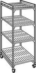 "Cambro EMU243678P 580 Mobile Starter Shelving Unit - (4)Shelf, 24x36x78"" (4)Castors, Brushed Graphite"