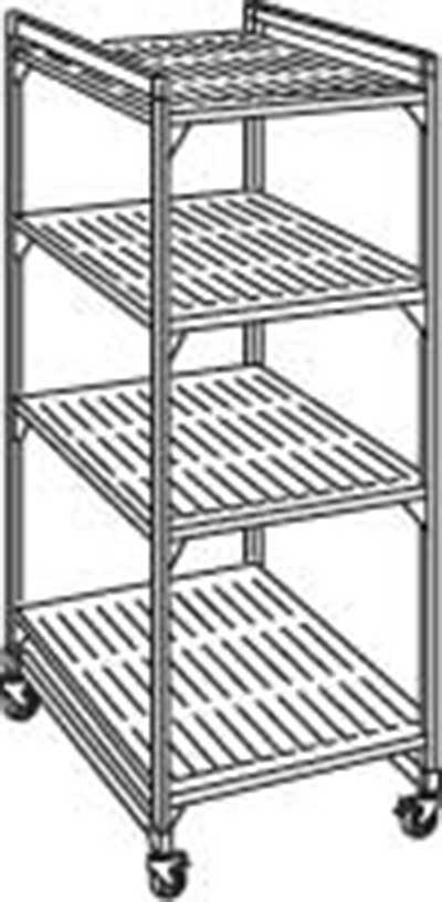 "Cambro EMU244270P 580 Mobile Starter Shelving Unit - (4)Shelf, 24x42x70"" (4)Castors, Brushed Graphite"
