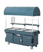 Cambro KVC856C191 CamKiosk Cart with Canopy - (6)Pan Wells, Granite Gray/Beige
