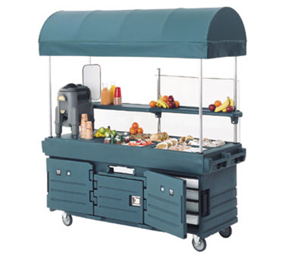"Cambro KVC854C519 Kiosk-Type Food Cart w/ Cover & Lockable Storage, 85.125""L x 33.5""W x 94""H, Green"