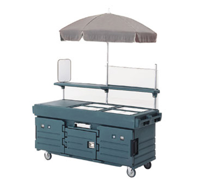 Cambro KVC854U519 CamKiosk Cart with Umbrella - (4)Pan Wells, Kentucky Green/Beige/Green