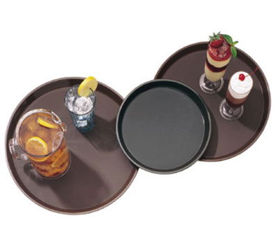 "Cambro PT1100167 11"" Round Polytread Tray - Brown"