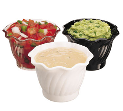 Cambro SRB5CW110 5-oz Swirl Serving Bowl - Polycarbonate, Black