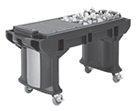 "Cambro VBRTLHD5186 69"" Cold Food Bar Work Table - Low Height, 6"" HD Castors, Navy Blue"