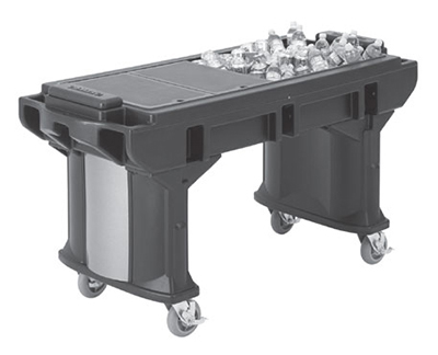 "Cambro VBRTHD6186 82"" Cold Food Bar Work Table - (4)Full Size Pans, 6"" HD Castors, Navy Blue"