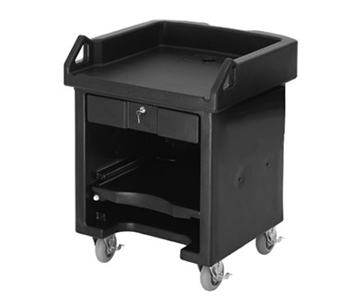 "Cambro VCSHD110 Versa Cash Register Cart - 32x32-1/4x43"" 6"" HD Castors, Black"
