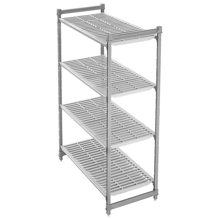 "Cambro CBU186072580 60"" Basics Shelving Unit - 4 Shelf Plates, Brushed Graphite"