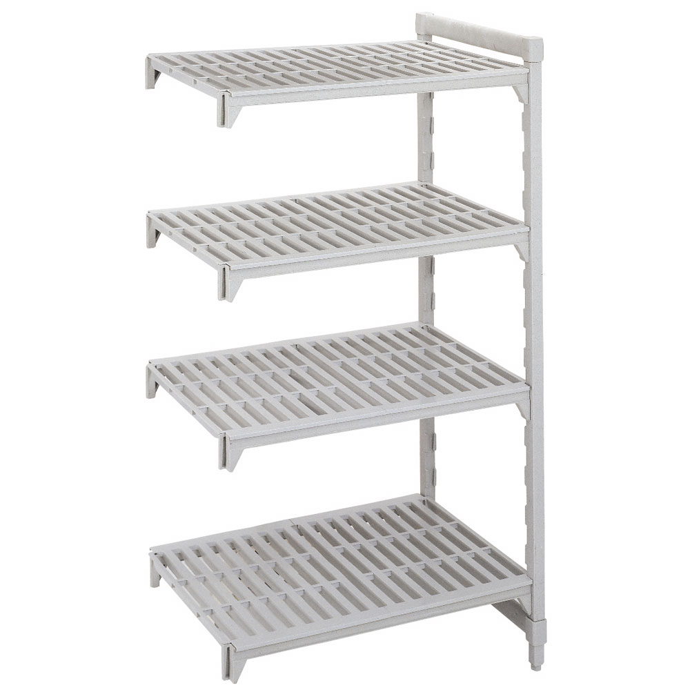 "Cambro CSA44607480 Camshelving Add-On Unit - (4)Shelves, 24x60x72"" Speckled Gray"