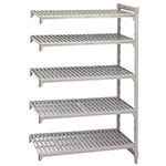 "Cambro CSA58606480 Camshelving Add-On Unit - (5)Shelves, 18x60x64"" Speckled Gray"