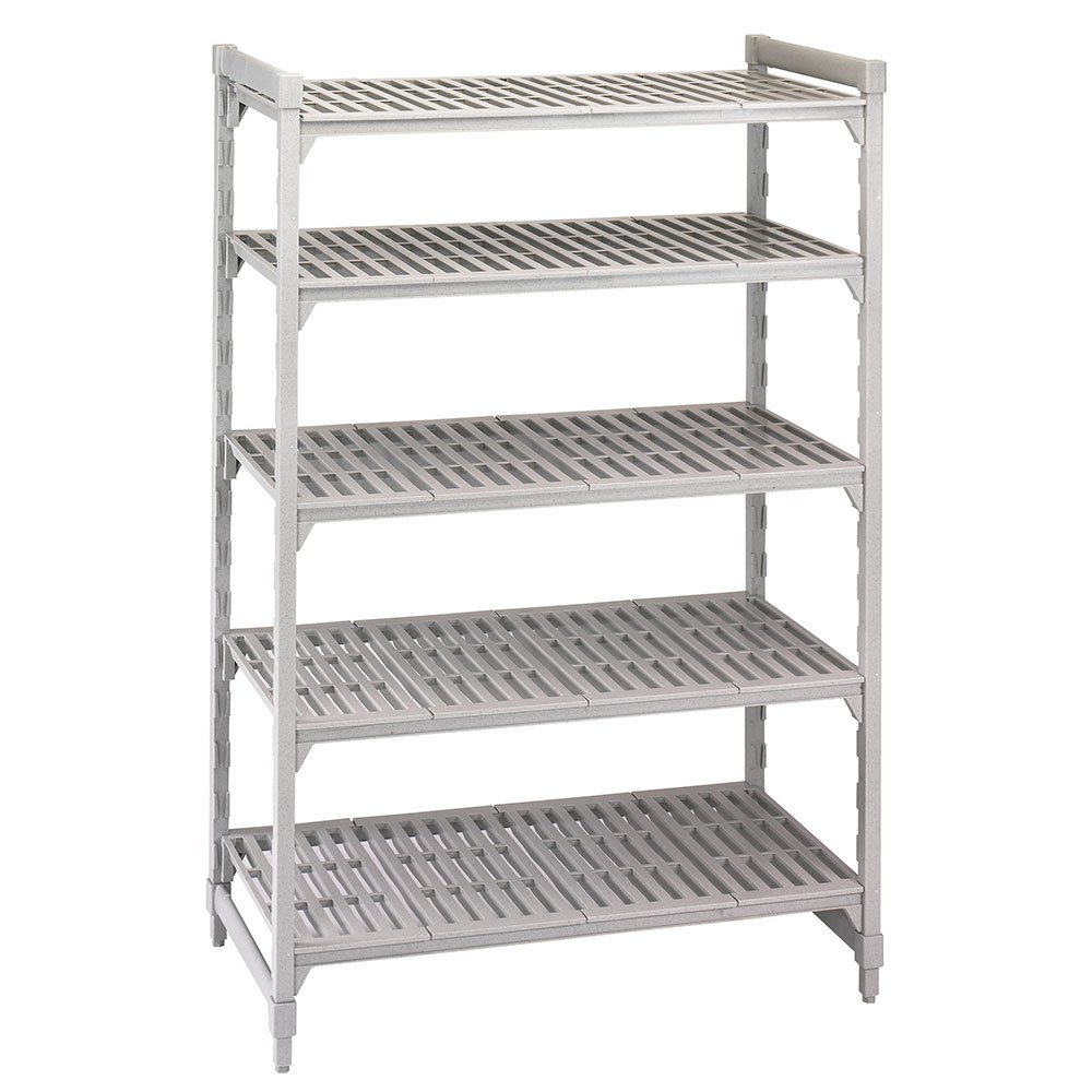"Cambro CSU51486480 Camshelving Starter Unit - 21x48x64"" (5)Shelves, Speckled Gray"