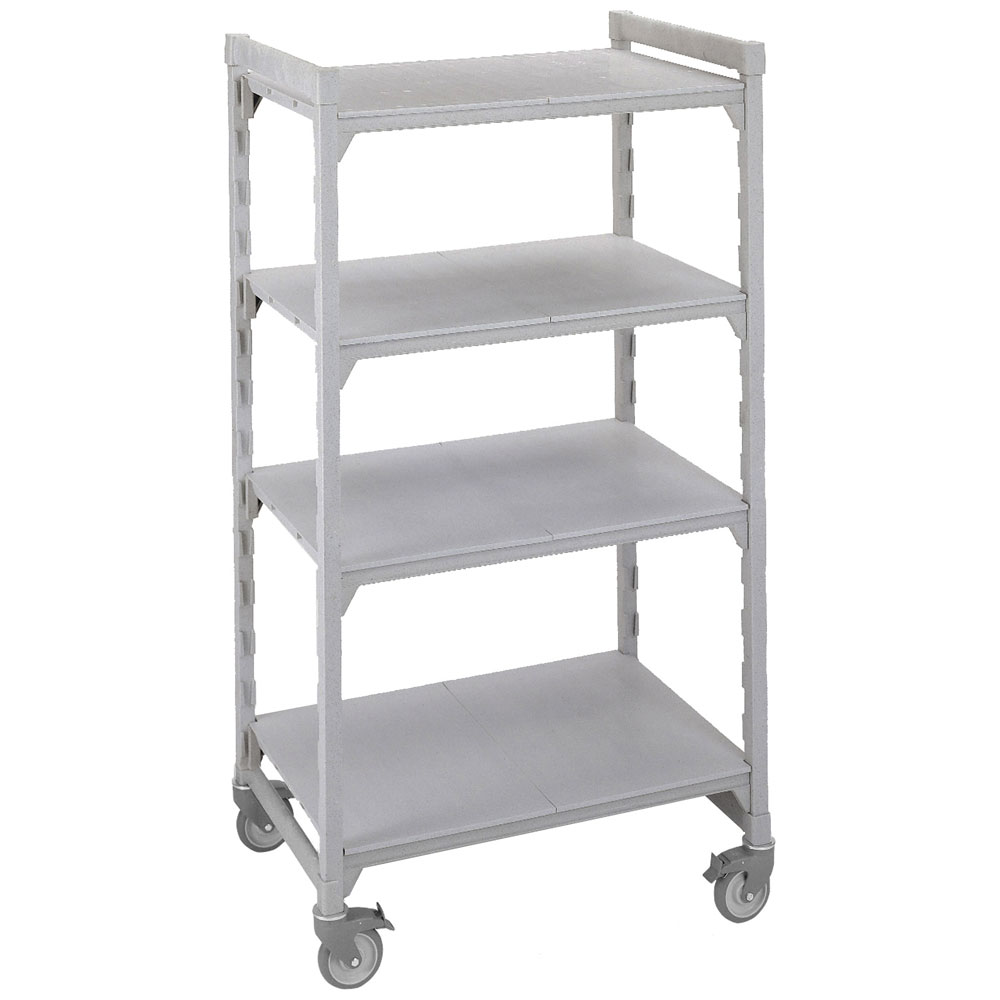 "Cambro CSUHD44486S480 Mobile Shelving Starter Unit - (4)Solid Shelves, 24x48x67"" Speckled Gray"