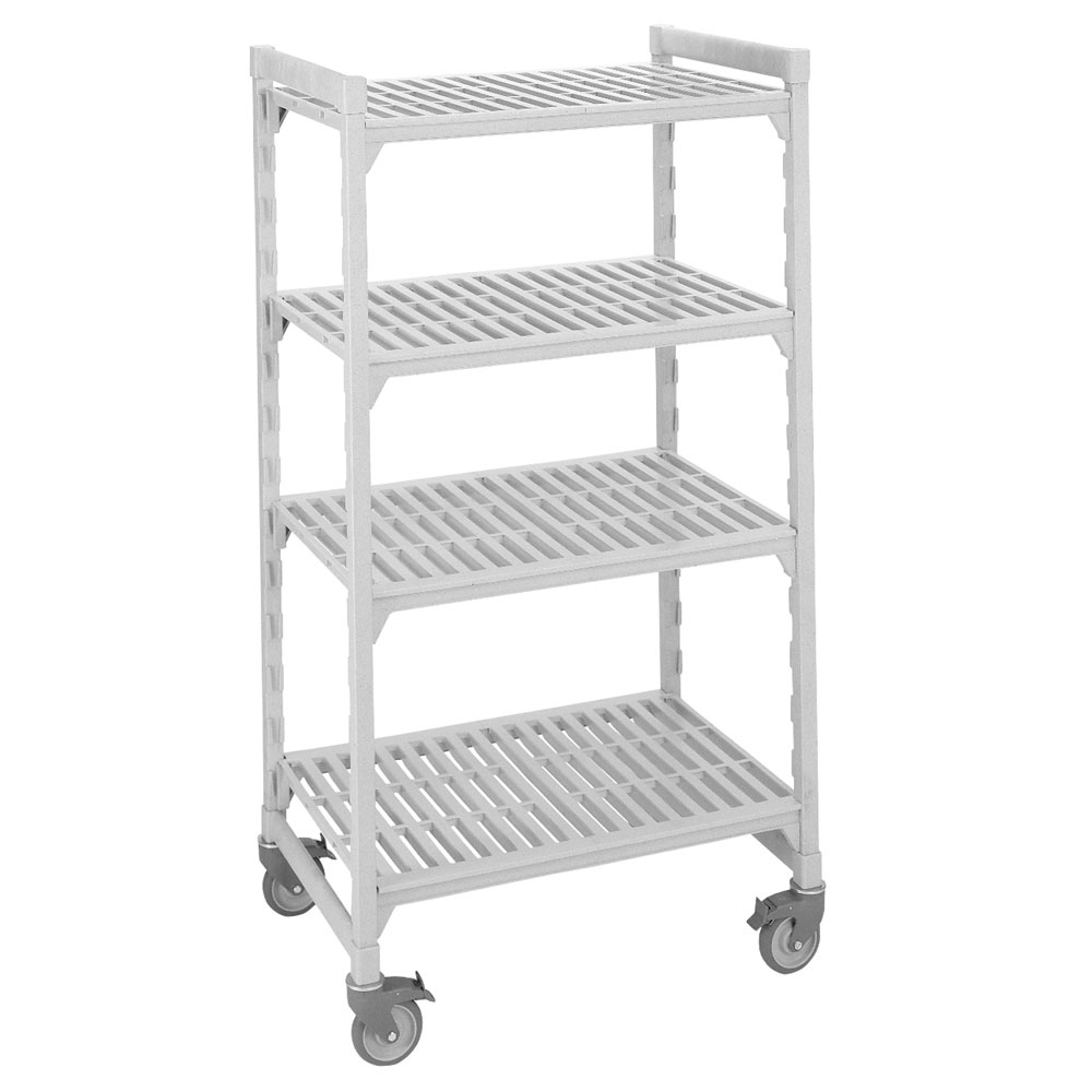 "Cambro CSUR41427480 42"" Mobile Shelving Unit - 4 Shelf, Plastic, Speckled Gray"