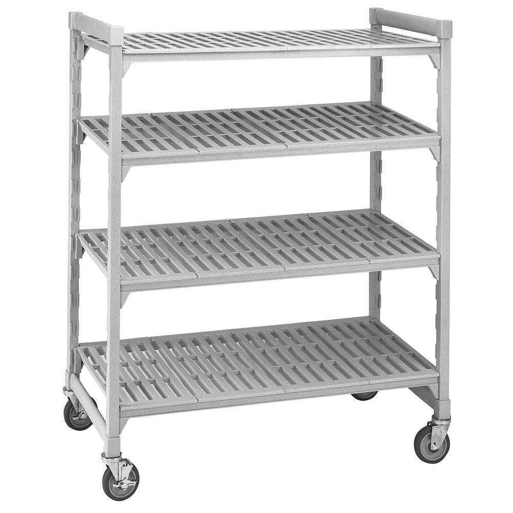 "Cambro CSUR54427480 42"" Mobile Shelving Unit - 4 Shelf, Plastic, Speckled Gray"