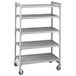 "Cambro CSUR58367480 Mobile Shelving Starter Unit - (5)Shelf, 18x36x75"" Speckled Gray"