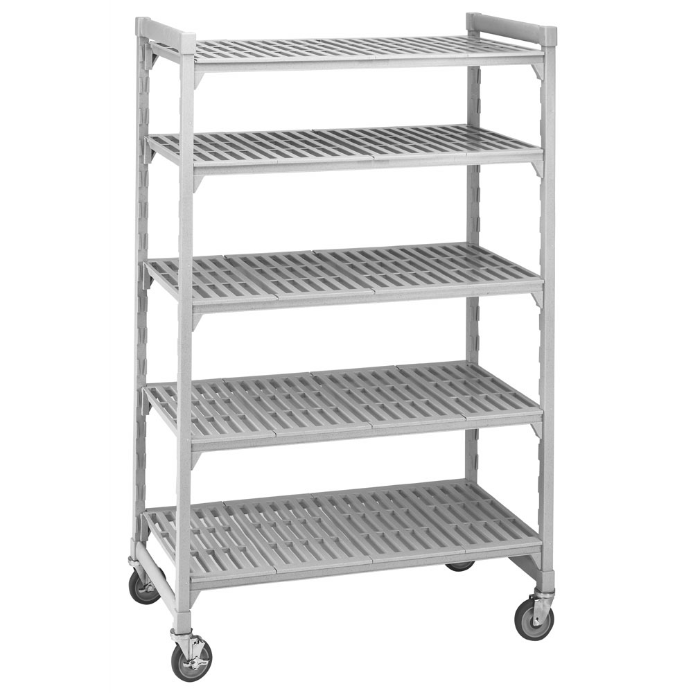 "Cambro CSUR58487480 Mobile Shelving Starter Unit - (5)Shelf, 18x48x75"" Speckled Gray"