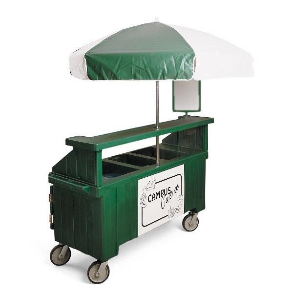 Cambro CVC72519 Camcruiser Vending Cart -(3)Full-Size Wells, Umbrella, Kentucky Green/White