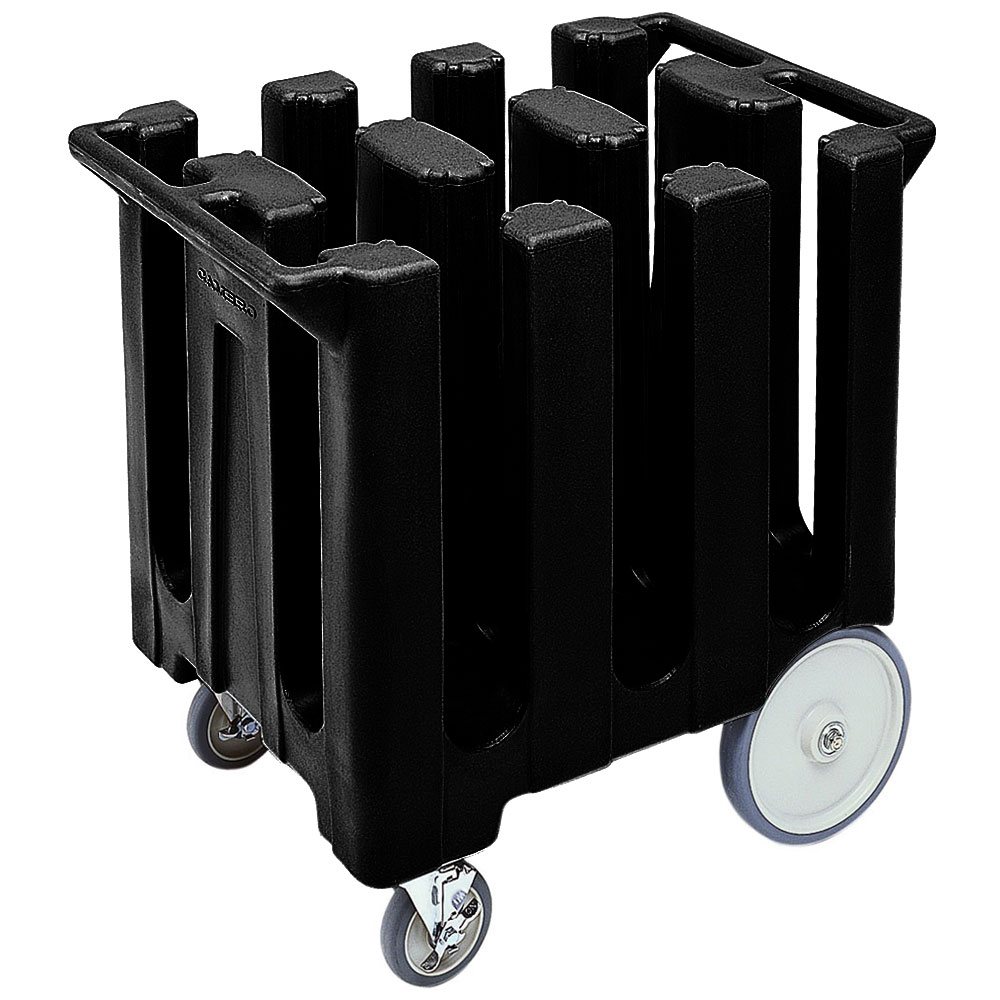 "Cambro DC700110 Dish Caddies Cart - 6-Columns, 7"" Max Dish Size, Black"