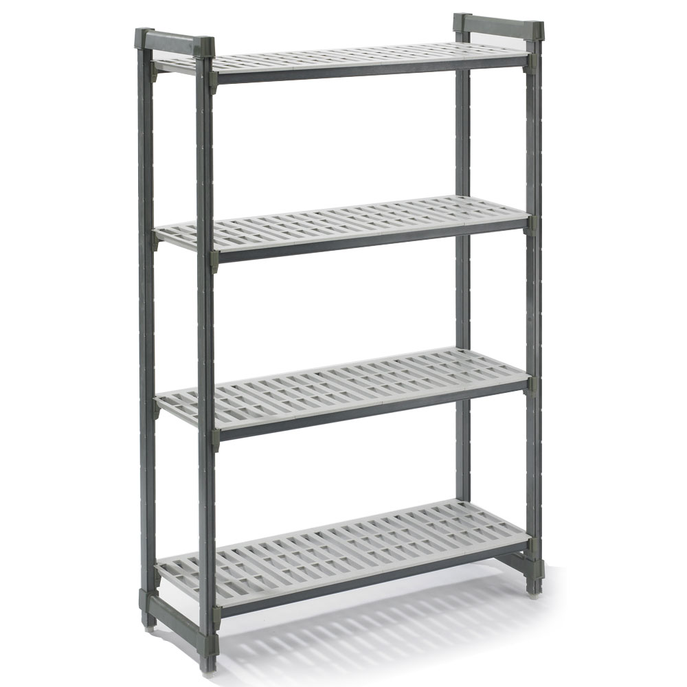 "Cambro ESU213672V4 Camshelving Elements Starter Unit - 21"" x 36"" x 72"" Brushed Graphite"