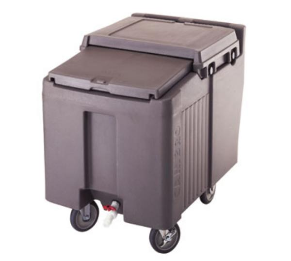 Cambro ICS125L157 Sliding Lid Ice Caddy 125 lbs. Coffee Beige 2 Swivel 2 Fixed 1 Brake Restaurant Supply