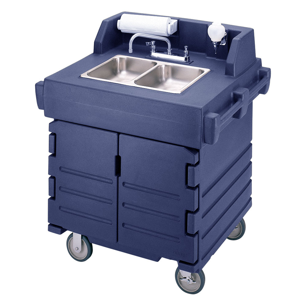 "Cambro KSC402186 45.5""H Portable Sink Cart w/ (2) 4""D Bowls, Hot Water"