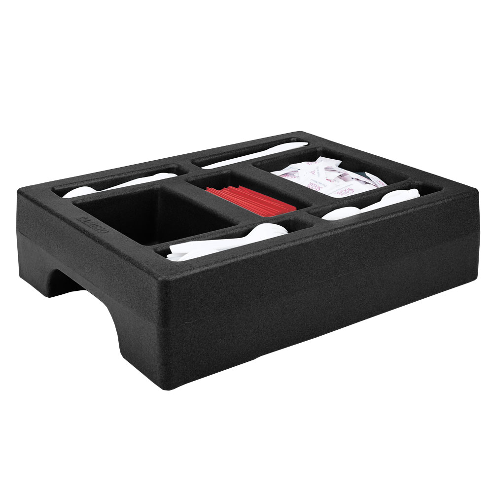 "Cambro LCDCH10110 Camtainer Condiment Holder - 20x16x5"" Black"