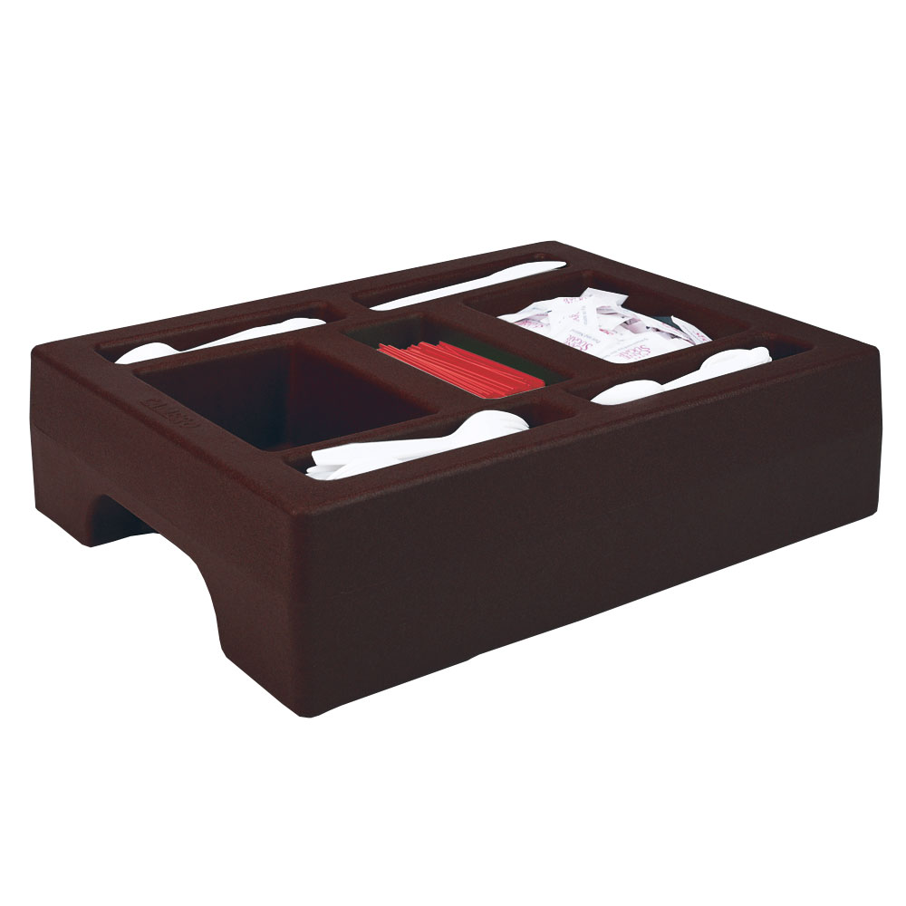 "Cambro LCDCH10131 Camtainer Condiment Holder - 20x16x5"" Dark Brown"