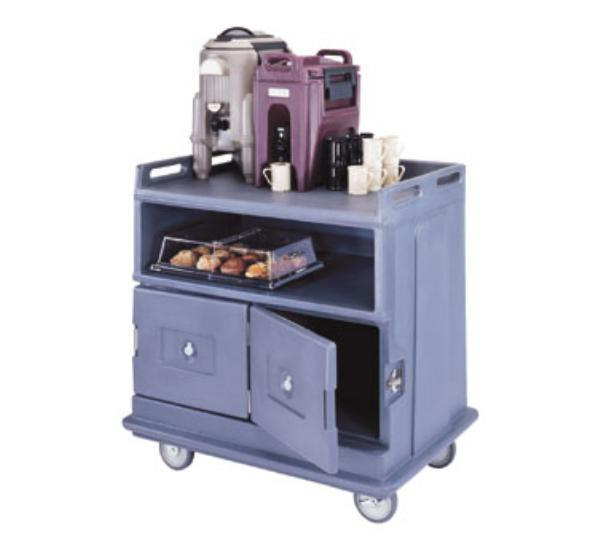 Cambro MDC24F401 Beverage Service Cart Flat Top 6 in Casters Slate Blue Restaurant Supply