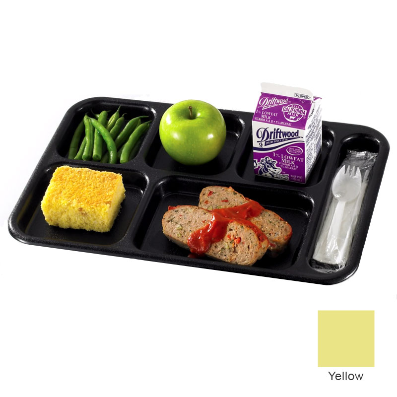 "Cambro PS1014145 Rectangular Penny-Saver School Tray - 6-Compartment, 10x14-1/2"" Yellow"