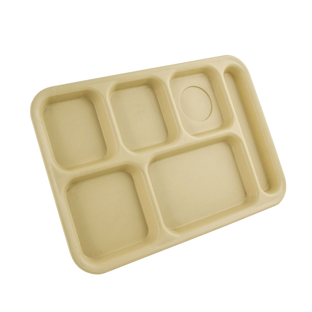 "Cambro PS1014161 Rectangular Penny-Saver School Tray - 6-Compartment, 10x14-1/2"" Tan"