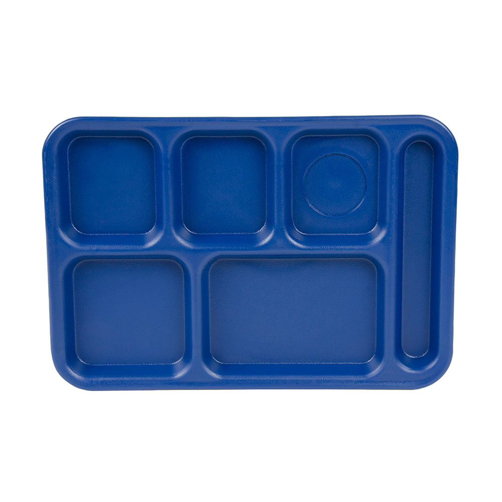 "Cambro PS1014186 Rectangular Penny-Saver School Tray - 6-Compartment, 10x14-1/2"" Navy Blue"
