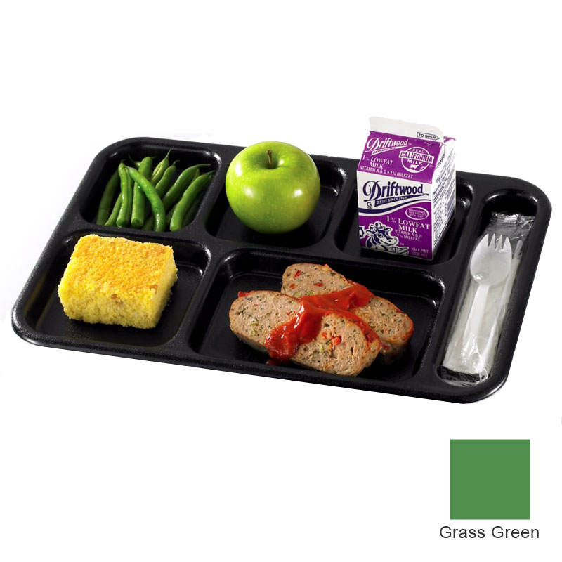 "Cambro PS1014437 Rectangular Penny-Saver School Tray - 6-Compartment, 10x14-1/2"" Grass Green"