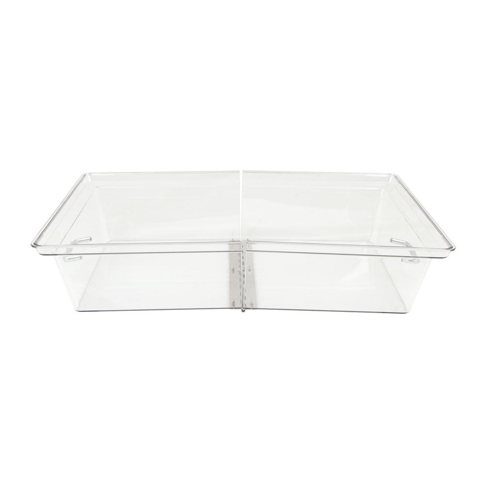 """Cambro RD1220CWH135 Rectangular Display Cover - Hinged, 12x20"""" Clear/Chrome"""