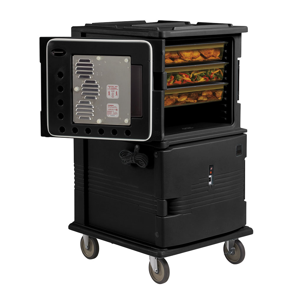"Cambro UPCH16002HD110 Camcart Hot Food Pan Carrier - Front Loading, 6"" Castors, Black 220v"