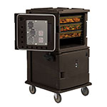 "Cambro UPCH16002HD131 Camcart Hot Food Pan Carrier - Front Loading, 6"" Castors, Dark Brown 220v"