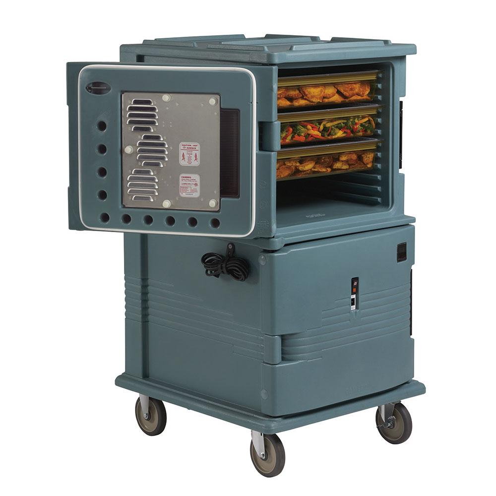 "Cambro UPCH16002HD401 Camcart Hot Food Pan Carrier - Front Loading, 6"" Castors, Slate Blue 220v"