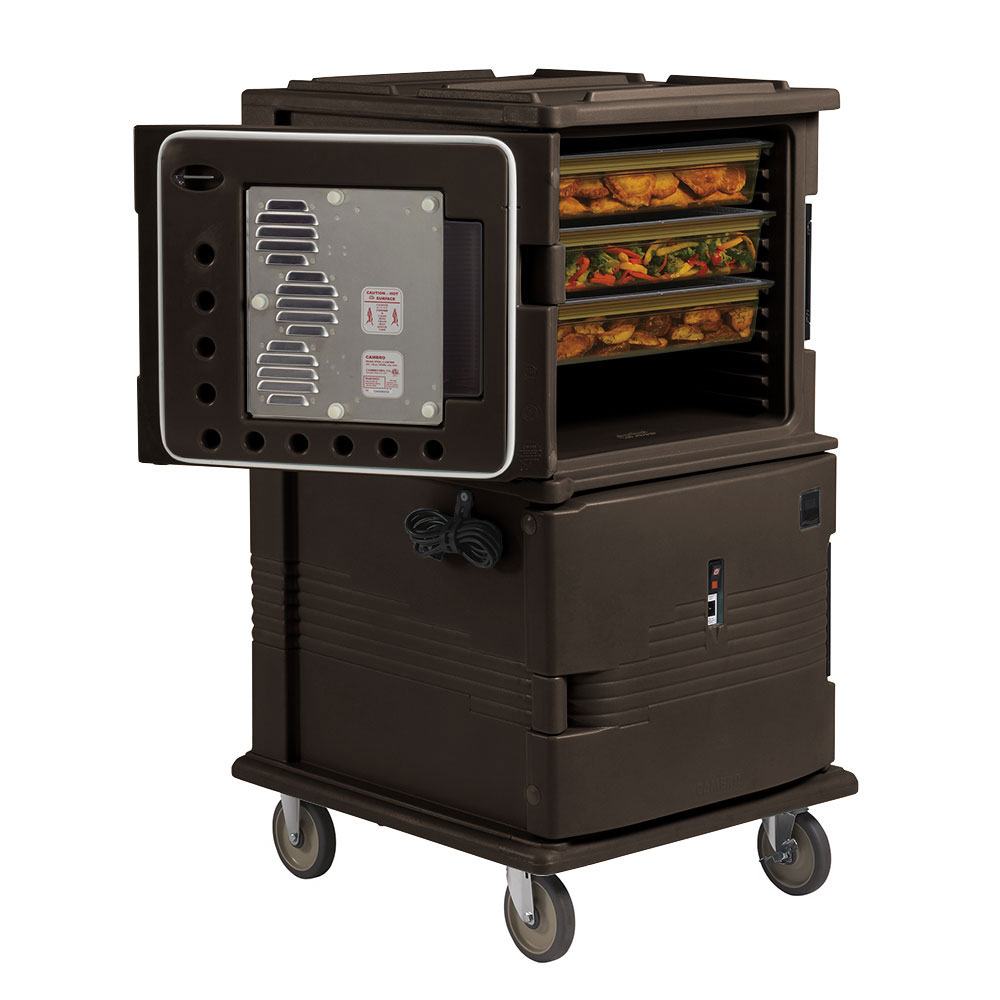 """Cambro UPCHT1600HD131 Camcart Hot Food Pan Carrier - Heated Top, 6"""" HD Castors, Dark Brown 110v"""