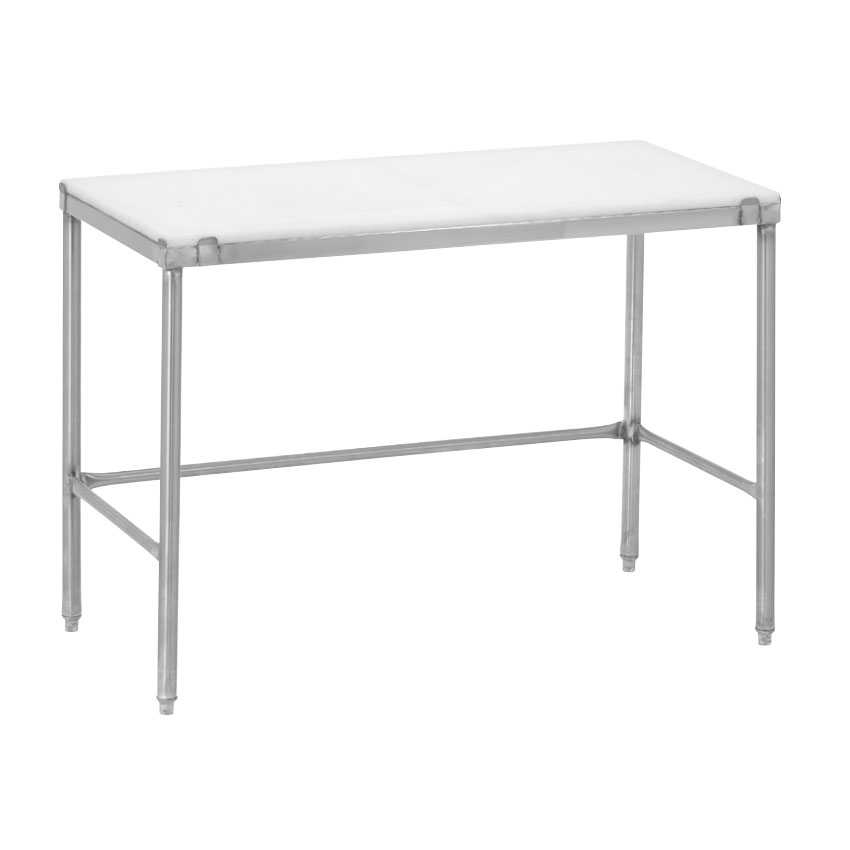 """Channel CT248 48"""" Poly Top Work Table w/  3/4"""" Top, Stainless Base, 24""""D"""