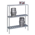 Channel KAR48 Tubular Storage Rack w/ 4-Keg Capacity & Adjustable Shelf, Aluminum