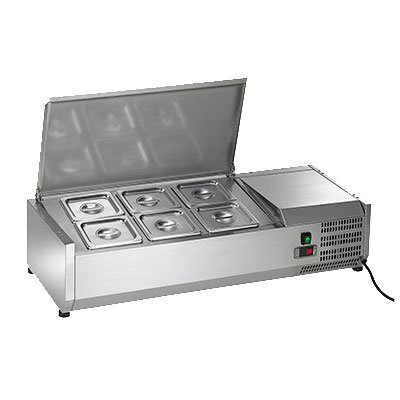 "Arctic Air ACP40 39.5"" Refrigerated Countertop Dispenser Station w/ (6) Sixth-Size Pans - 115v"